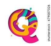 paper cut letter q. realistic... | Shutterstock .eps vector #679007326