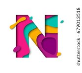 paper cut letter n. realistic... | Shutterstock .eps vector #679013518