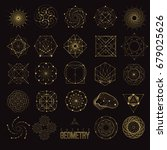 set sacred geometry forms ... | Shutterstock .eps vector #679025626