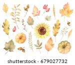 Watercolor Autumn Set Of Leaves ...