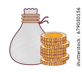 coins cash money with bag | Shutterstock .eps vector #679030156