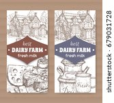 Two Dairy Farm Shop Labels Wit...