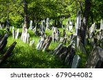 Small photo of Old Jewish Cemetery, stone tombstones, town of Mikulov in the Czech Republic
