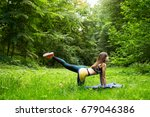 pretty young woman doing yoga... | Shutterstock . vector #679046386