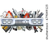 vector front car part with...   Shutterstock .eps vector #679049125