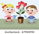 children watering flower hearts   Shutterstock .eps vector #67904950