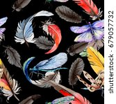 watercolor bird feather pattern ... | Shutterstock . vector #679057732