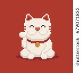 pixel art asian lucky cat ... | Shutterstock .eps vector #679071832