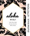 aloha party invitation design | Shutterstock .eps vector #679074346
