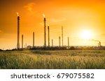 refinery factory  petroleum...   Shutterstock . vector #679075582