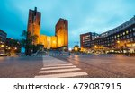 oslo city hall  in the evening  ... | Shutterstock . vector #679087915