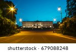royal palace in oslo at night ... | Shutterstock . vector #679088248