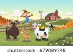 cartoon cow  calf and bull.... | Shutterstock .eps vector #679089748