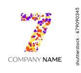 number seven logo with purple ... | Shutterstock . vector #679090345