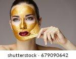 portrait of sexy healthy girl...   Shutterstock . vector #679090642