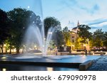 fountain with oslo national... | Shutterstock . vector #679090978