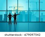 two men looking through window... | Shutterstock .eps vector #679097542