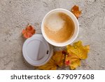 paper coffee cup on the autumn... | Shutterstock . vector #679097608