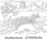 nature of japan coloring book... | Shutterstock . vector #679098196