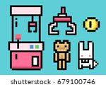 crane game machine and arcade... | Shutterstock .eps vector #679100746