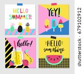 summer set of colorful vector... | Shutterstock .eps vector #679102912