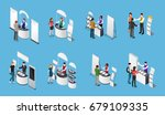 isometric set of promotional... | Shutterstock .eps vector #679109335