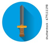 the sword icon on blue... | Shutterstock .eps vector #679111198