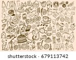 hand drawn food elements. set... | Shutterstock .eps vector #679113742