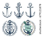 set of 3 retro anchors with a... | Shutterstock .eps vector #679121878