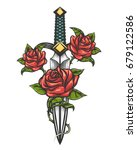 traditional tattoo with rose...   Shutterstock . vector #679122586