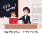 elementary pupil reading a book ... | Shutterstock .eps vector #679124125
