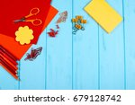 red and orange pencils  felt... | Shutterstock . vector #679128742