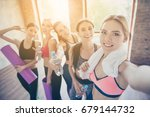 selfie mania in gym  five... | Shutterstock . vector #679144732