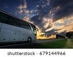 bus transportation at sunset | Shutterstock . vector #679144966