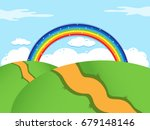 background with rainbow and... | Shutterstock . vector #679148146