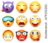 smiley emoticon set. yellow... | Shutterstock .eps vector #679152202
