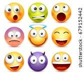 smiley emoticon set. yellow... | Shutterstock .eps vector #679152442
