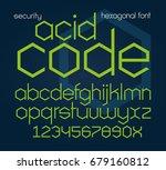hexagonal futuristic font.... | Shutterstock .eps vector #679160812