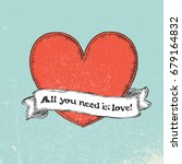 all you need is love text on... | Shutterstock .eps vector #679164832