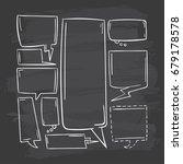 comic speech bubbles doodle set   Shutterstock .eps vector #679178578