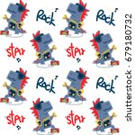 seamless pattern  funny cartoon ... | Shutterstock .eps vector #679180732