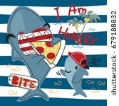 funny cartoon hungry shark... | Shutterstock .eps vector #679188832