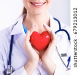 young woman doctor holding a...   Shutterstock . vector #679213012