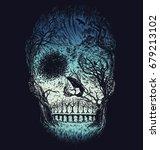hand drawn abstract skull made... | Shutterstock .eps vector #679213102