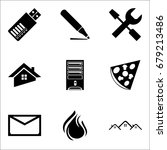 set of 9 mixed icons such as...   Shutterstock .eps vector #679213486