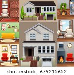 house and rooms in the house...   Shutterstock .eps vector #679215652