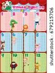 times tables chart with kids in ... | Shutterstock .eps vector #679215706