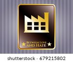 shiny emblem with factory icon ... | Shutterstock .eps vector #679215802