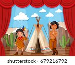 native americans roleplay on... | Shutterstock .eps vector #679216792