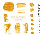 gold watercolor hand painting... | Shutterstock .eps vector #679223656